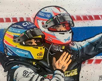 Esteban Ocon & Fernando Alonso, Alpine - Graffiti Painting
