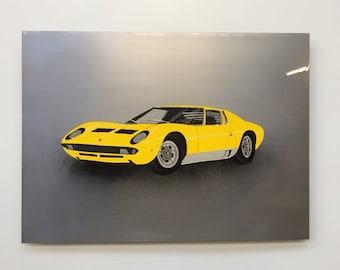 Lamborghini Miura painting on Steel