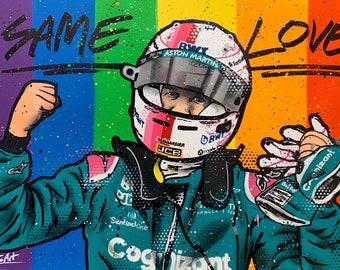 Sebastian Vettel, Aston Martin podium - Graffiti Painting