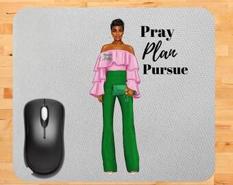 Mousepad Divine Nine Sorority Sublimation Green AKA Sorority Woman PNG Sorority Anniversary Pink Mousepad hbcu Pink AKA #slay