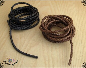 tubular cord, braided leather black / brown, 6 mm diameter.