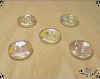 5 multicolor transparent buttons, available in 2 sizes