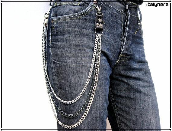 Cadena De Pantalones Y Jeans Triple Cadena Accesorio De Etsy