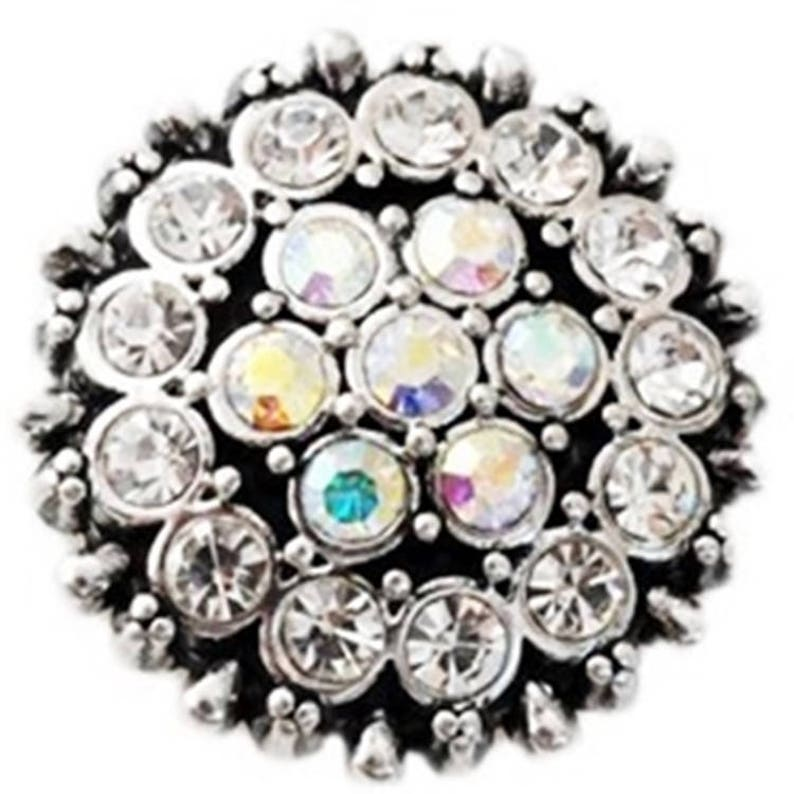 Noosa Chunks Ginger Style Snap Button Charms Rose Pink Rhinestones Silver 20mm