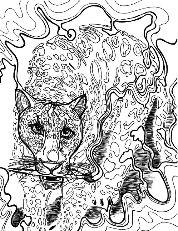 Adult Coloring Page Jaguar Coloring Printable Download And Hot Etsy