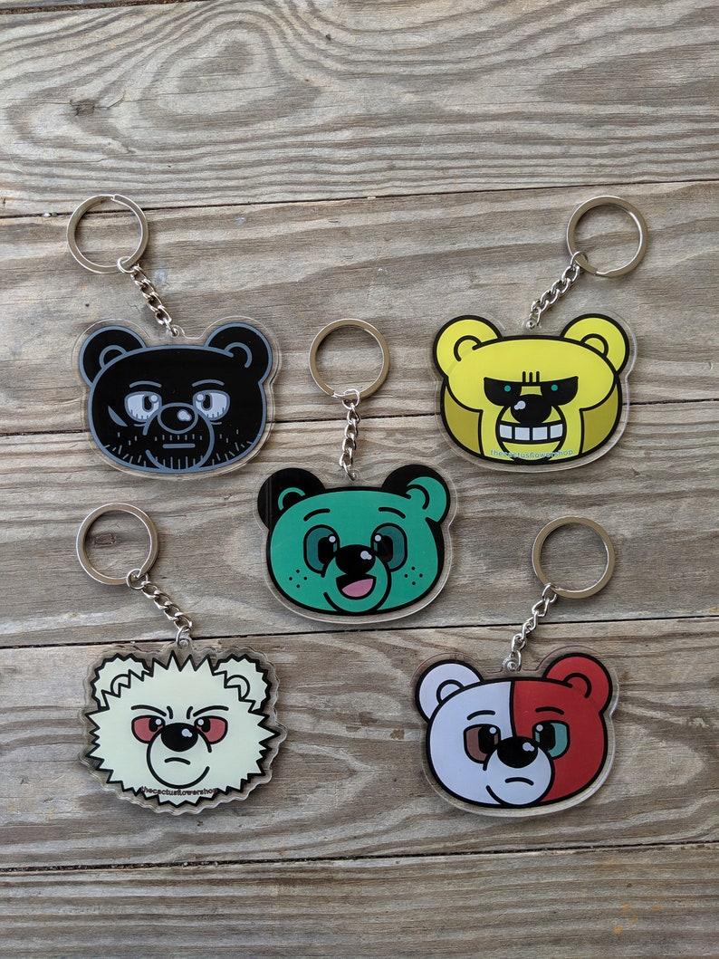 Smiling Hero Bear Acrylic Keychain