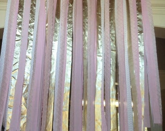 Wedding Backdrop, shower banner, Photo Booth Backdrop Blush Pink and Gold, reception decor, FABRIC GARLAND