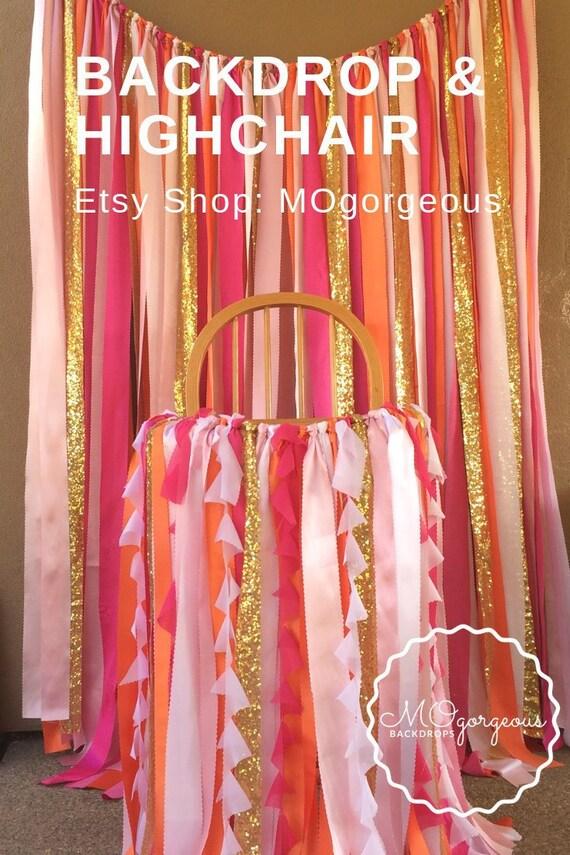 Fantastic Backdrop Highchair Banner With Hot Pink Blush Gold Orange Birthday Cards Printable Inklcafe Filternl