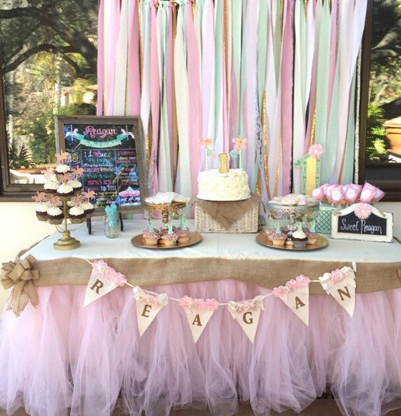 Mint Pink Streamers Party Fabric Backdrop Pink Gold Theme Etsy