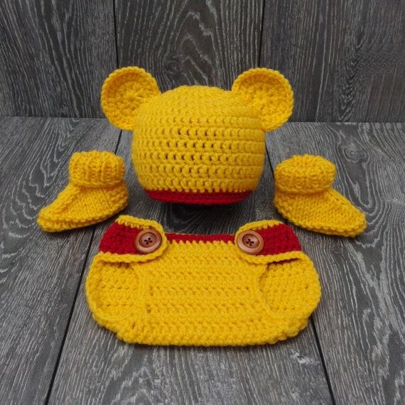 e30dbe6f6dbc Winnie the pooh costume Newborn crochet bear baby set Winnie   Etsy