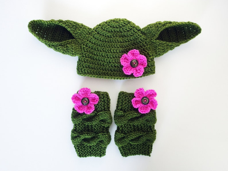 Star Wars Baby Girl Baby photography props Baby Girl Yoda Costume Star Wars Costume Yoda Hat Yoda Baby Hat and Leg Warmers