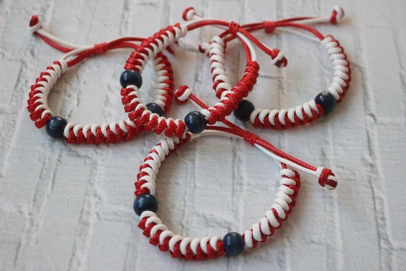 men bracelet adjusted length White and red Amulet bracelet Martenitsa Baba Marta Unisex bracelet bulgarian jewelry Wooden blue beads