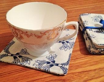 Set of 6 flower design fabric coasters (mug rugs)