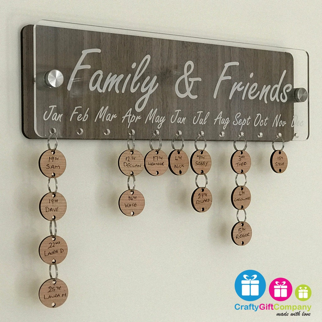 Friends And Family Birthday Anniversaries Board With