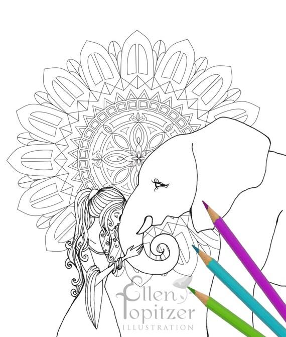 Página para colorear Mandala de elefantes | Etsy