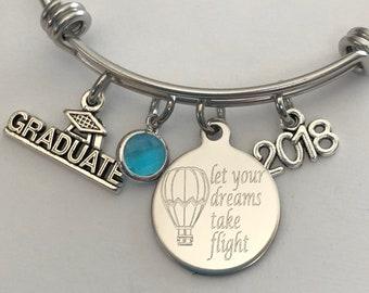 graduation bracelet-Let your dreams take flight engraved bracelet-hot air balloon bracelet