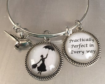 Mary Poppins bracelet-Practically Perfect in every way bracelet-Disney bracelet