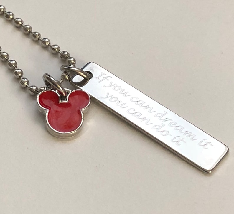 if you can dream it you can do it engraved 10 x 40mm vertical bar charm necklace-friendship bracelet