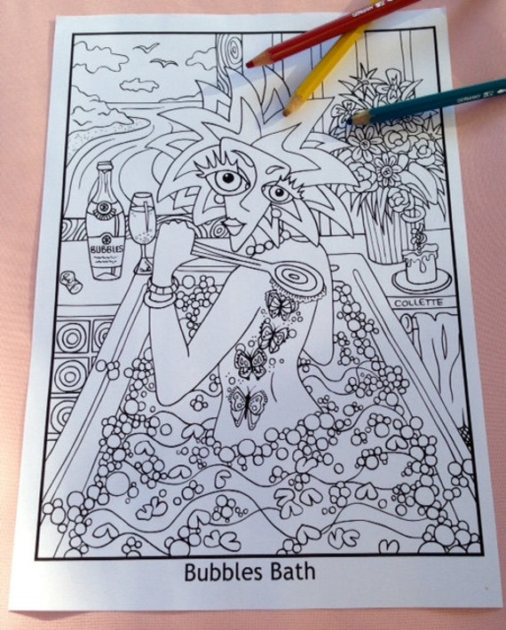 Bubbles Bath Adult Coloring Page to print | Etsy