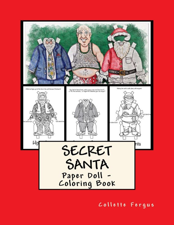 Secret Santa Paper Doll/Coloring Book Digital Book to Print