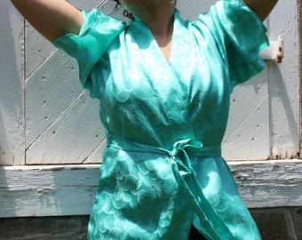 Teal 100% Silk Kimono Robe