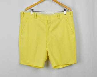Vintage Banana Yellow Polyester Shorts 40, XL Retro Shorts, Vintage Clothing, 70s Clothing, 70s Clothes, Colorful, Mens Shorts, Deck Shorts