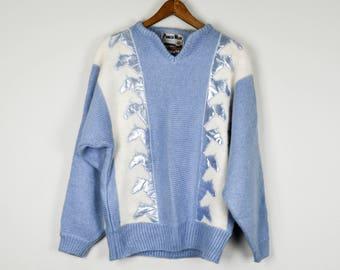 Vintage Angora Sweater, Vintage Clothing, 80s Clothing, Colorful Sweater, Vintage Clothes, Vintage Sweater, Blue White Sweater