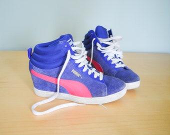 the best attitude 3923e 6e41c Vintage Suede Puma Hi Tops Sneakers 9, Vintage Puma Shoes, US 9, EUR 40, UK  6.5, Vintage Clothing, 90s Clothing, Hip Hop Shoes, High Tops
