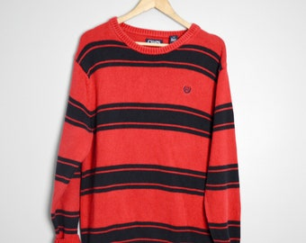 90s Soft Grunge Navy and Red Striped Sweater with a Lil Pocket