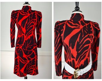 80s Dress, 80s Clothing, Vintage Clothing, Sweater Dress, Shoulder Pads; Animal Print, 80s Clothes, Christmas, Zebra Print, Retro, Red