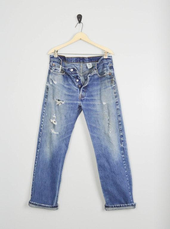 Vintage Distressed 501 Levis Jeans 33, Vintage Clo