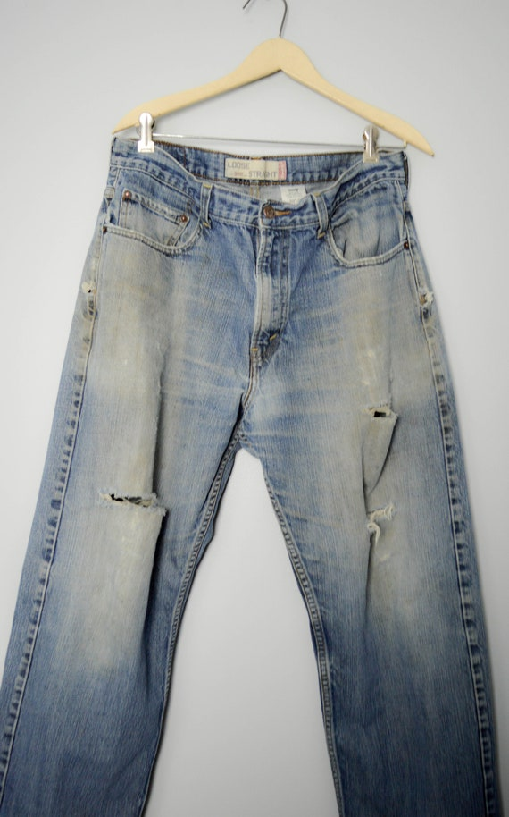 Trashed Vintage Distressed 569 Levis Jeans 34, 90… - image 3