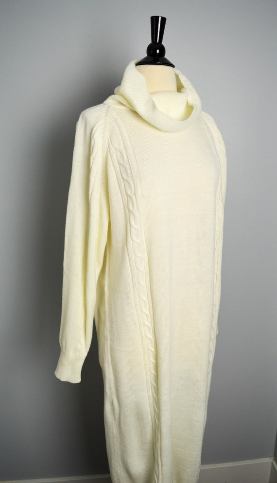 80s Multi Pattern Sweater Dress Medium 1980s Long Sleeve
