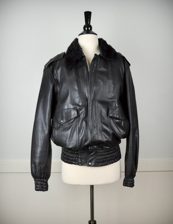 Vintage Bomber Leather Jacket, Vintage Clothing, L