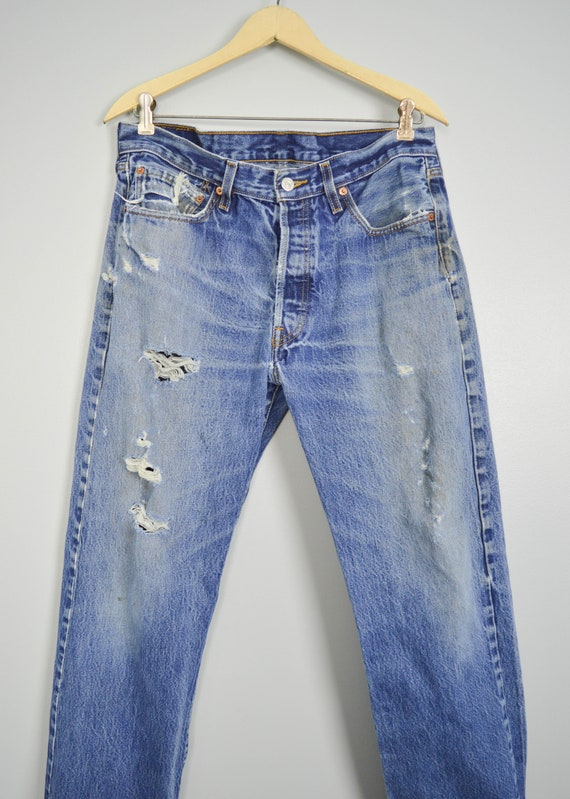 Vintage Distressed 501 Levis Jeans 33, Vintage Cl… - image 3