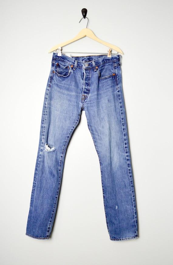 Vintage Distressed 501 Levis Jeans 32/33, 90s Lev… - image 1
