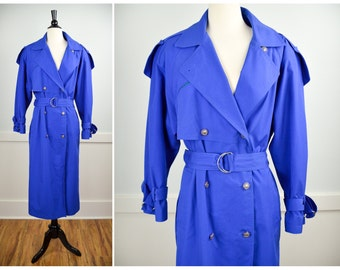 80s Trench Coat, Vintage Clothing, 80s Clothing, Oversized Trench, Blue Jacket, Spring Jacket, Grunge, Medium, Baggy, Double Breasted Trench
