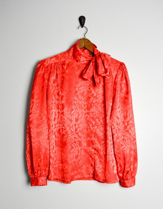 80s Red Blouse, Vintage Clothing, 80s Clothing, Se