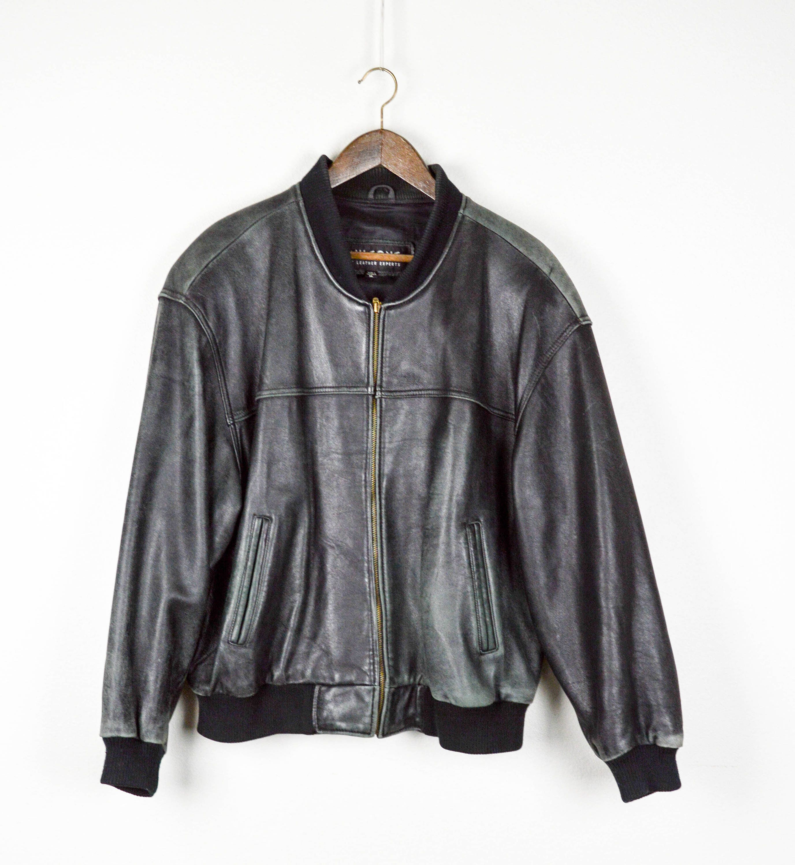 Distressed Vintage Oversized Leather Jacket, Vintage Clothing, 90s Clothing, Leather Coat, Baggy Jacket, Hip Hop Jacket Black Leather Bomber