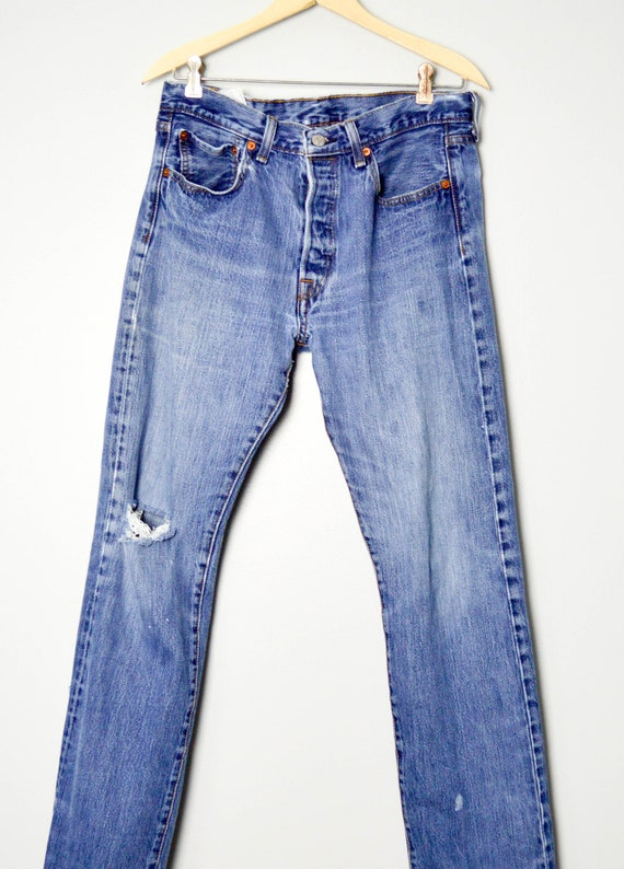 Vintage Distressed 501 Levis Jeans 32/33, 90s Lev… - image 2