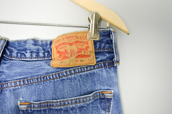 Vintage Distressed 501 Levis Jeans 32/33, 90s Lev… - image 7