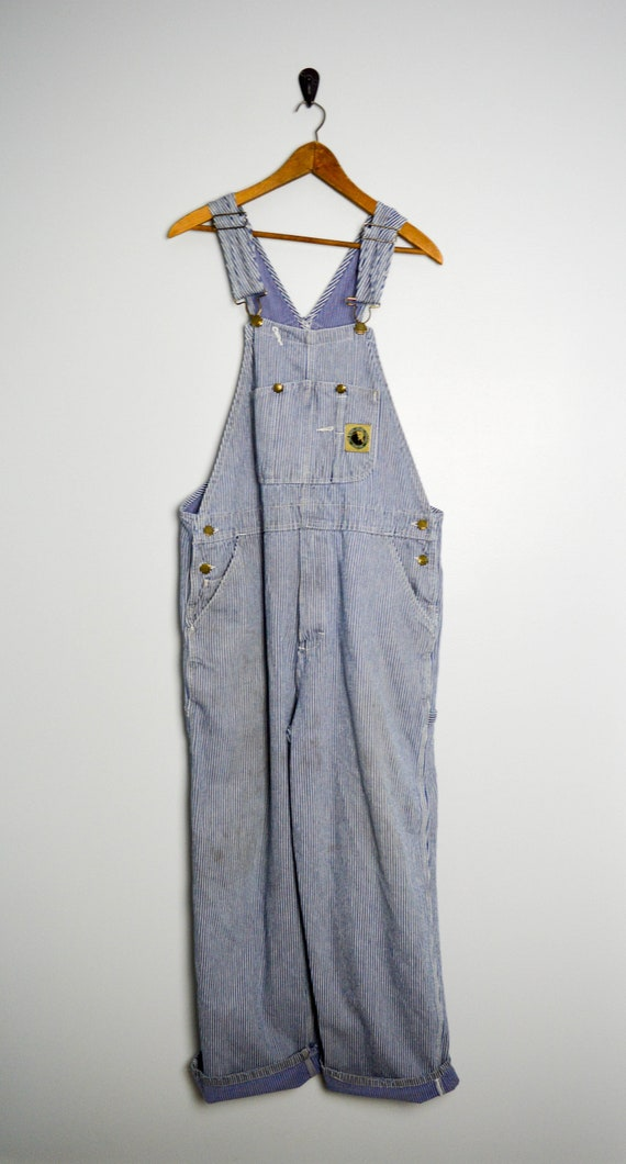 Distressed Vintage XL Overalls Railroad Stripe Eng