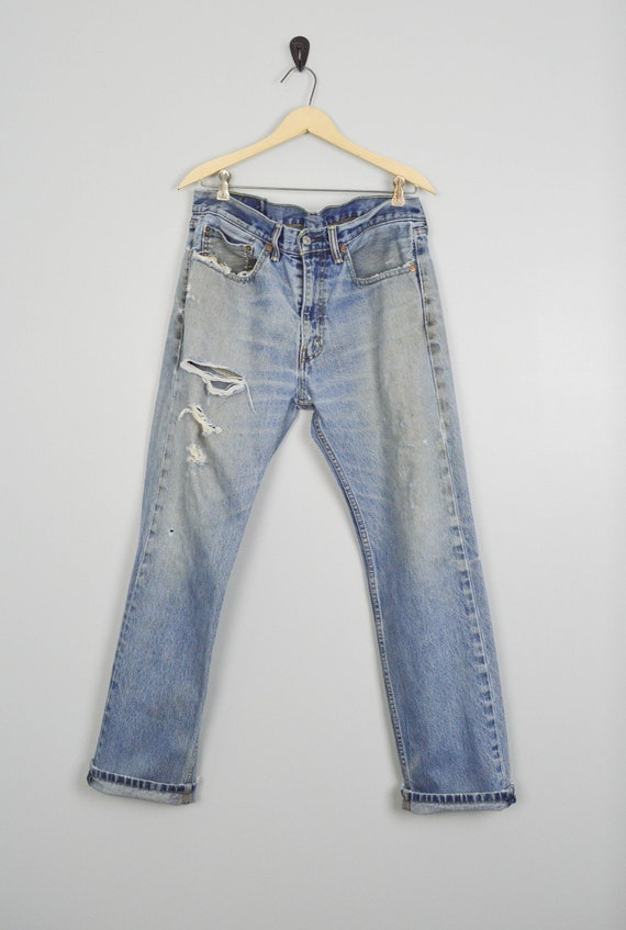 Vintage 505 Distressed Levis Jeans 34 Tall, Vintag