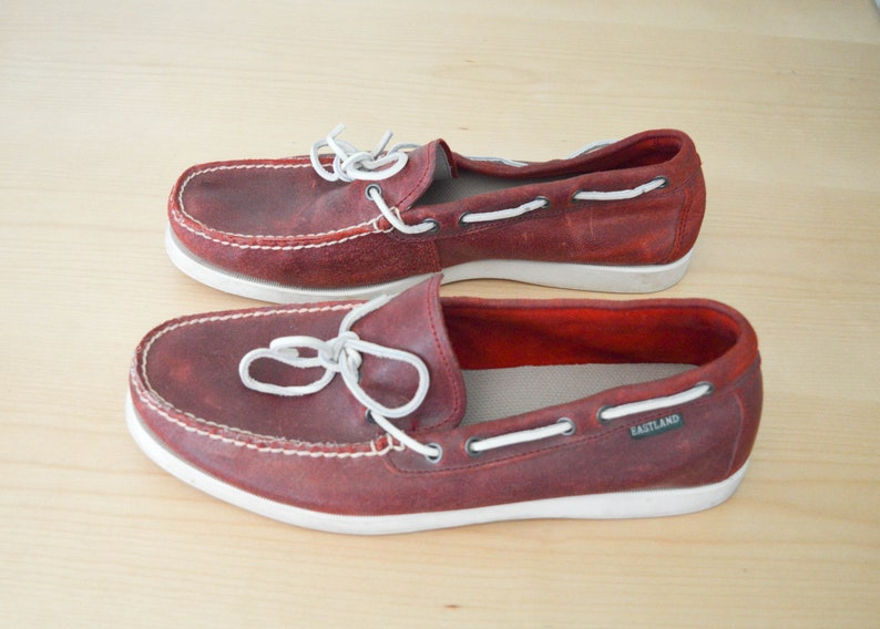 Vintage Shoes Retro Eastland Boat Shoes Vintage Leather Deck Shoes Leather Loafers Red Loafers Shoes Vintage Loafers Mens Size 12