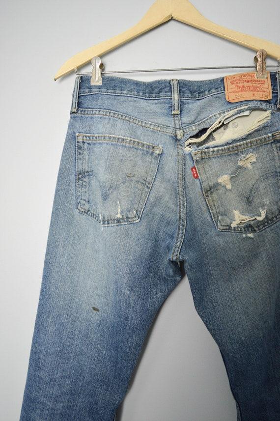 Vintage Trashed 527 Levis Jeans 31, 90s Levis, Vi… - image 4