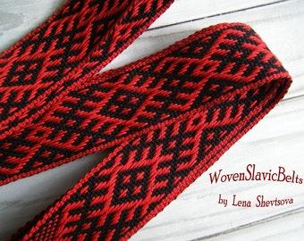 Women Woven Slavic Belt, Red and Black Woven Belt, Woven Sash, Slavic festive costume, Russian costume, Ukrainian costume, Inkle weaving