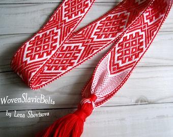 Woven Slavic Belt for women, Woven Belt, Woven Sash, Slavic festive costume, Sash for order, Woven Band, Woven Strap, Russian folk belt