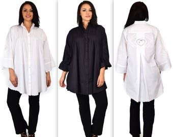 Oversize Shirt, Plus size shirt, Big Shirt, Cotton Shirt, Cotton Blouse, Embroidered Shirt,  XL/1XL,2XL/3XL,4XL/5XL