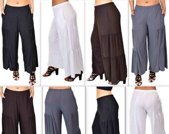 Comfy Plus Pants, Designer Pants, Tiered Pants, Plus Size Pants, Lagen look Pants, Palazzo Pants, Wide leg Pants, Size XL To 5XL