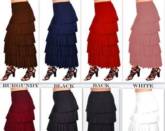 9ebe60dbe New Waterfall Skirt, Tiered Skirt,Designer Skirt, Long Skirt, Plus size  Skirt, Travelers Skirt, Party Skirt 1XL,2XL,3XL